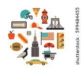 new york city  vector flat... | Shutterstock .eps vector #599484455