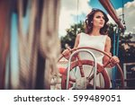 stylish wealthy woman on a... | Shutterstock . vector #599489051