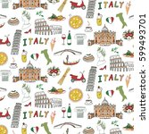 italy travel doodle pattern... | Shutterstock .eps vector #599493701