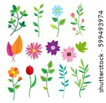 big doodle set of flowers and... | Shutterstock .eps vector #599493974