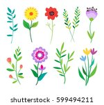 big doodle set of flowers and... | Shutterstock .eps vector #599494211