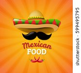 mexican food with gradient mesh ... | Shutterstock .eps vector #599495795