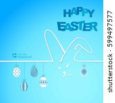 happy easter background with... | Shutterstock .eps vector #599497577