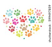 dog paw print made of heart... | Shutterstock .eps vector #599497859