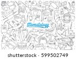 hand drawn stomatology doodle... | Shutterstock .eps vector #599502749