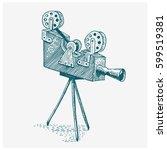 photo movie or film camera... | Shutterstock .eps vector #599519381