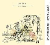 bagan  myanmar  burma . ancient ... | Shutterstock .eps vector #599521664