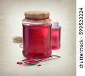 3d render of sweet berry jam in ... | Shutterstock . vector #599523224