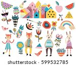 set of cute scandinavian style... | Shutterstock .eps vector #599532785