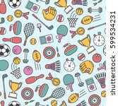 seamless pattern with sport... | Shutterstock .eps vector #599534231