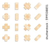 set of beige plaster or band... | Shutterstock .eps vector #599538851