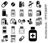 set of different pill or drug...   Shutterstock .eps vector #599538899