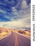 vintage stylized scenic highway ... | Shutterstock . vector #599539055