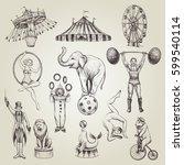 circus vintage vector... | Shutterstock .eps vector #599540114
