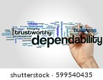 dependability word cloud concept | Shutterstock . vector #599540435