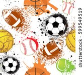 seamless sport pattern with... | Shutterstock .eps vector #599549519