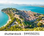 green peninsula with nafplion... | Shutterstock . vector #599550251