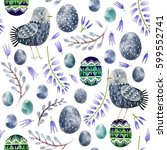 seamless pattern with hand... | Shutterstock . vector #599552741