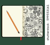 vector notebooks with pencil... | Shutterstock .eps vector #599553161