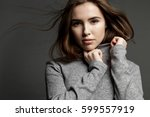 cute young model woman with... | Shutterstock . vector #599557919