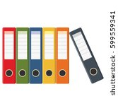set of colored ring binders... | Shutterstock .eps vector #599559341