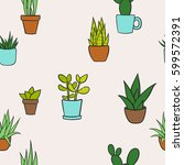 vector seamless pattern with... | Shutterstock .eps vector #599572391