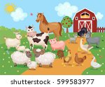Farm Animals And Birds With...
