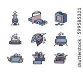 handmade soap icons. set of... | Shutterstock .eps vector #599585321