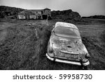 Abandoned Car And Farm In Black ...