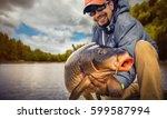 Fishing Backgrounds. Young Man...