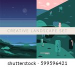 creative landscape background... | Shutterstock .eps vector #599596421