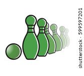 bowling set in color vector... | Shutterstock .eps vector #599597201