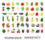 large color set of vegetables ... | Shutterstock .eps vector #599597477