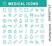 a set of simple outline medical ... | Shutterstock .eps vector #599597717