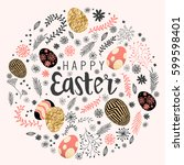 happy easter decoration with... | Shutterstock .eps vector #599598401