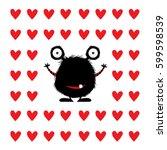 monster cartoon with hearts...   Shutterstock .eps vector #599598539