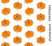 pumpkin  vector seamless... | Shutterstock .eps vector #599599841