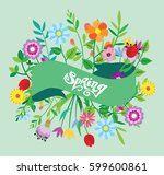 spring template   flower  leaf. ... | Shutterstock .eps vector #599600861