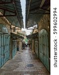 morning at the old city street... | Shutterstock . vector #599602994