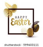 easter frame design with gold... | Shutterstock .eps vector #599603111