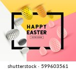 an abstract easter frame design ... | Shutterstock .eps vector #599603561