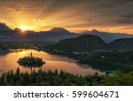 bled with lake  island and... | Shutterstock . vector #599604671