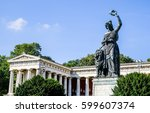 famous statue of bavaria at the ... | Shutterstock . vector #599607374