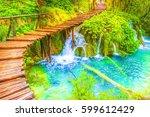 deep forest  cascades and... | Shutterstock . vector #599612429