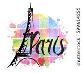 hand drawn eiffel tower. paris  ...   Shutterstock .eps vector #599614235