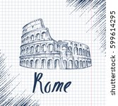 rome colosseum sign. italian... | Shutterstock .eps vector #599614295