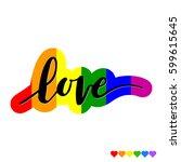 hand drawn phrase love on...   Shutterstock .eps vector #599615645