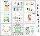 card template collection for... | Shutterstock .eps vector #599615921