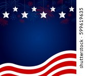 usa flag with fireworks design... | Shutterstock .eps vector #599619635