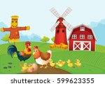 chickens on the farmland... | Shutterstock .eps vector #599623355